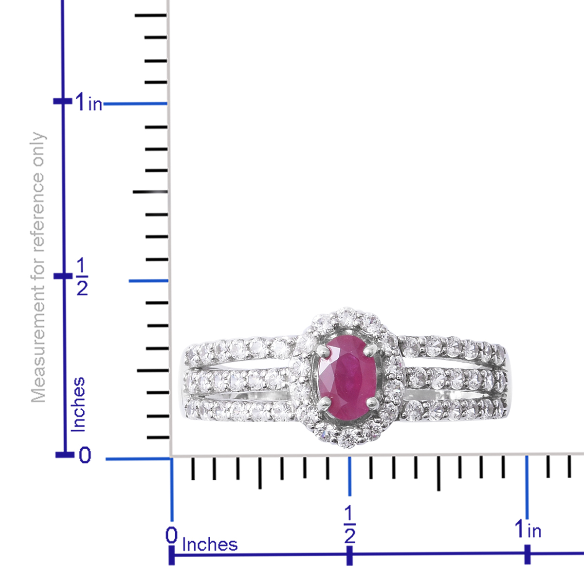 Burmese Ruby, Cambodian White Zircon Platinum Over Sterling Silver Split  Ring (Size 7 0) TGW 1 60 cts