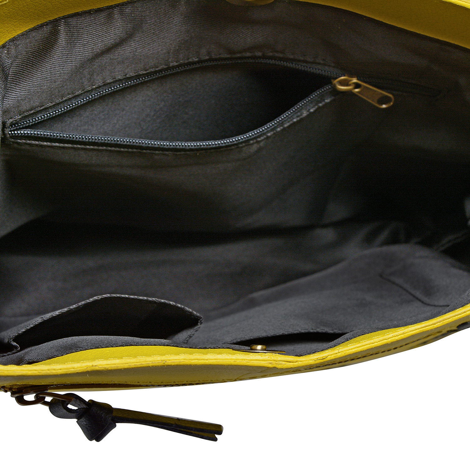 Yellow 100% Genuine Leather RFID Shoulder Bag (13x10 in)