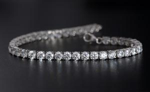 J Francis - Platinum Over Sterling Silver Bracelet Made with SWAROVSKI ZIRCONIA (7.50 In) TGW 18.50 cts.