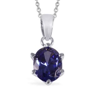 Simulated Blue Sapphire Sterling Silver Solitaire Pendant With Stainless Steel Chain (20 in) TGW 1.50 cts.