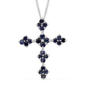 Kanchanaburi Blue Sapphire, Diamond Platinum Over Sterling Silver Pendant With Chain (20 in) TGW 1.66 cts.