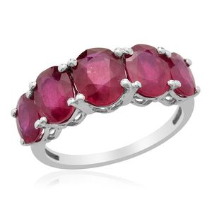 Niassa Ruby Platinum Over Sterling Silver 5 Stone Ring (Size 10.0) TGW 8.400 cts.