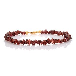 Carnelian Bead Platinum Over Sterling Silver Anklet (10.00 in) Total Gem Stone Weight 55.00 Carat