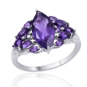 Lusaka Amethyst (Mrq 2.65 Ct) Ring in Platinum Overlay Sterling Silver Nickel Free (Size 9) TGW 3.89 cts.