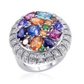Multi Gemstone Platinum Over Sterling Silver Ring (Size 10.0) TGW 4.273 cts.