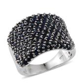Kanchanaburi Blue Sapphire Platinum Over Sterling Silver Ring (Size 9.0) TGW 6.200 cts.