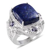 Lapis Lazuli, Catalina Iolite Sterling Silver Ring (Size 9.0) TGW 21.35 cts.