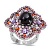 Mozambique Garnet (Ovl), Pink, White, Purple and Orange Austrian Crystal Ring in Stainless Steel (Size 8) TGW 10.000 cts.