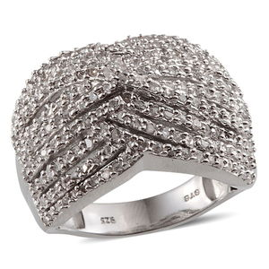 Diamond Platinum Over Sterling Silver Ring (Size 5.0) TDiaWt 1.00 cts, TGW 1.000 cts.