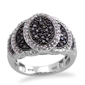Black Diamond (IR), Diamond Platinum Over Sterling Silver Ring (Size 7.0) TDiaWt 0.75 cts, TGW 0.75 cts.