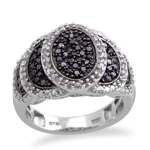 Black Diamond, Diamond Platinum Over Sterling Silver Ring (Size 7.0) TDiaWt 0.75 cts, TGW 0.745 cts.