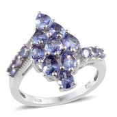 Tanzanite Platinum Over Sterling Silver Ring (Size 6.0) TGW 3.050 cts.