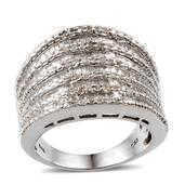 Diamond Platinum Over Sterling Silver Ring (Size 6.0) TDiaWt 0.50 cts, TGW 0.495 cts.