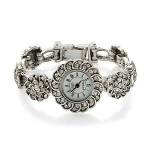 STRADA Austrian Crystal Japanese Movement Flower Watch in Silvertone With Stainless Steel Back