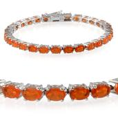 Jalisco Fire Opal Platinum Over Sterling Silver Bracelet (7.50 In) TGW 10.550 cts.