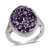 Lusaka Amethyst, Diamond Platinum Over Sterling Silver Ring (Size 7.0) TDiaWt 0.02 cts, TGW 3.025 cts.