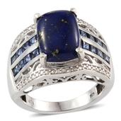 Lapis Lazuli, Lab Created Blue Sapphire, Diamond Platinum Over Sterling Silver Ring (Size 7.0) TDiaWt 0.03 cts, TGW 7.930 cts.