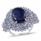 Lapis Lazuli, Tanzanite Platinum Over Sterling Silver Ring (Size 7.0) TGW 13.250 cts.