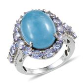 Burmese Blue Jade, Tanzanite, Diamond Platinum Over Sterling Silver Ring (Size 10.0) TDiaWt 0.03 cts, TGW 13.930 cts.