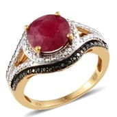 Niassa Ruby, Black Diamond, Diamond 14K YG Over Sterling Silver Ring (Size 10) TGW 5.14 cts.
