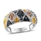 Blue, Yellow, White, Green and Red Diamond Platinum Over Sterling Silver Ring (Size 7.0) TDiaWt 0.49 cts, TGW 0.485 cts.