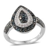 Blue Diamond (IR), Diamond Platinum Over Sterling Silver Ring (Size 9.0) TDiaWt 0.46 cts, TGW 0.460 cts.
