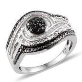 Black Diamond (IR), Diamond Platinum Over Sterling Silver Ring (Size 8.0) TDiaWt 0.48 cts, TGW 0.48 cts.