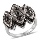 Black Diamond (IR), Diamond Platinum Over Sterling Silver Ring (Size 10.0) TDiaWt 1.00 cts, TGW 1.00 cts.