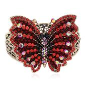 Creature Couture - Red and White Austrian Crystal, Red Chroma Goldtone Butterfly Bangle (7.5 in)