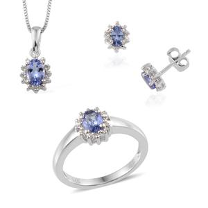 Tanzanite, Diamond Sterling Silver Stud Earrings, Ring (Size 7) and Pendant with Chain (18 in) TDiaWt 0.07 cts, TGW 1.319 cts.