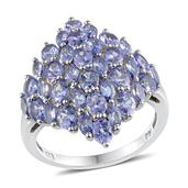 Tanzanite Platinum Over Sterling Silver Ring (Size 7.0) TGW 4.710 cts.