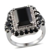 Thai Black Spinel (Oct 9.35 Ct), Diamond Ring in Platinum Overlay Sterling Silver Nickel Free (Size 7) TDiaWt 0.040Cts., TGW 13.24 Cts.