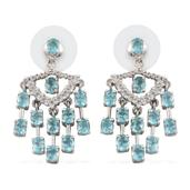 Madagascar Paraiba Apatite, White Topaz Platinum Over Sterling Silver Chandelier Earrings TGW 4.910 cts.