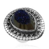 Bali Legacy Collection Blue Drusy Quartz Sterling Silver Ring (Size 9.0) TGW 25.64 cts.