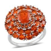 Jalisco Fire Opal Platinum Over Sterling Silver Ring (Size 7.0) TGW 4.550 cts.