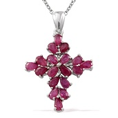 Niassa Ruby, Diamond Platinum Over Sterling Silver Cross Pendant With Chain (20 in) TDiaWt 0.02 cts, TGW 5.520 cts.