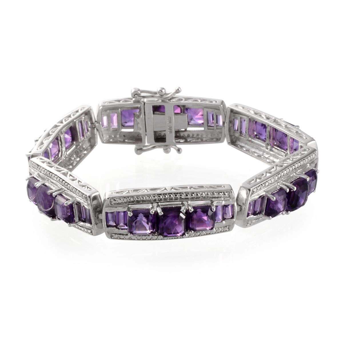 Amethyst, Diamond Platinum Over Sterling Silver Bracelet (7.50 In) TDiaWt 0.01 cts, TGW 29.710 cts.
