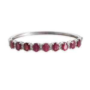 Niassa Ruby, White Topaz Platinum Over Sterling Silver Bangle (7.5 in) TGW 17.20 cts.