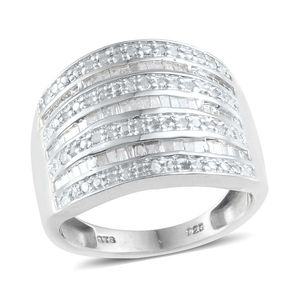 Diamond Platinum Over Sterling Silver Ring (Size 10.0) TDiaWt 0.48 cts, TGW 0.480 cts.