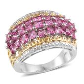 Ouro Fino Rubellite, Diamond 14K YG and Platinum Over Sterling Silver Ring (Size 7.0) TDiaWt 0.03 cts, TGW 2.645 cts.