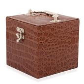 Brown Crocodile Embossed Jewelry Cube with 3 Trays, Mirror and Lock (4.5 in) TGW 0.001 cts.