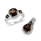 Doorbuster Brazilian Smoky Quartz (Rnd) Ring (Size 9) and Pendant without Chain in Stainless Steel TGW 5.855 cts.