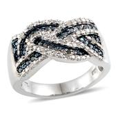 Blue Diamond (IR), Diamond Platinum Over Sterling Silver Ring (Size 10.0) , TDiaWt 0.25 cts, TGW 0.250 cts.