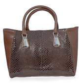 J Francis - Brown Leather Handbag (14x5x10 in)