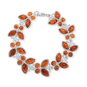 Baltic Amber Sterling Silver Butterfly Bracelet (7.00 In)