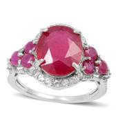 Niassa Ruby, White Topaz Sterling Silver Ring (Size 6.0) TGW 6.380 cts.