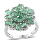 Kagem Zambian Emerald, Diamond Platinum Over Sterling Silver Ring (Size 7.0) TDiaWt 0.01 cts, TGW 3.210 cts.