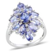 Tanzanite, Diamond Platinum Over Sterling Silver Ring (Size 10) TDiaWt 0.01 cts, TGW 5.560 cts.