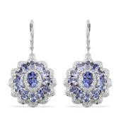 Tanzanite, Diamond Platinum Over Sterling Silver Lever Back Earrings TDiaWt 0.02 cts, TGW 5.370 cts.