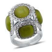 Simulated Green Cats Eye, Austrian Crystal Ring in Stainless Steel (Size 7) TGW 0.001 cts.